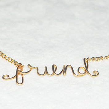 BOGO Buy 1 Gold Get 1 Silver Necklace FRIENDS Wire Script Necklace, Wire Script Jewelry, Custom Jewelry, Personalized Necklace, Vintage Gift