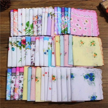 Lot 50 PCS Pretty Floral Handkerchiefs Vintage Style Cotton Hankies