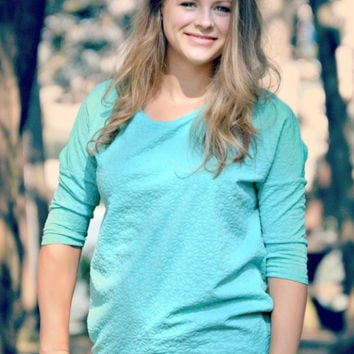 Mint Dolman Top - Three Quarter Sleeve