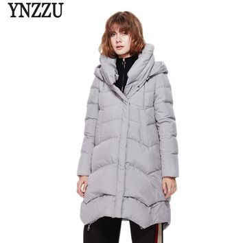 Brand Woman Winter Down Jackets Coat with Hood 2017 New Chic Women Mid-long Thick Warm Cold Winter Coat Jacket AO256