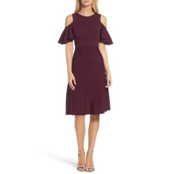 Eliza J Cold Shoulder Fit & Flare Wine Dress, Size Large