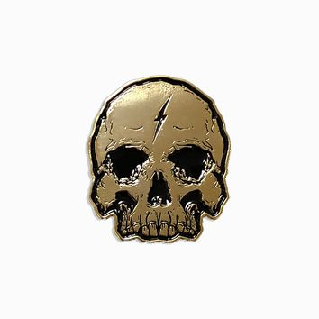 Gold Lightning Skull Patch