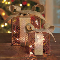 Country Christmas Lighted Mesh & Burlap Gift Box Set Lighted Holly Berries
