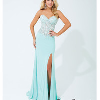 Tony Bowls 2014 Prom Dresses - Aqua Jersey & Beaded Strapless Prom Gown