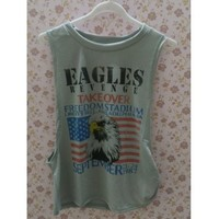 Fresh Style Eagle Printed Side Boob Tank Top For Women (GRAY,XL) in Tank Top | DressLily.com