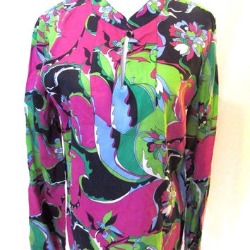 Talbots Women's Pullover Blouse Mandarin Collar Btight Floral Long Sleeves Soft