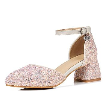 Ankle Strap Sequined Mid Heel Sandals Summer Wedding Shoes 8764