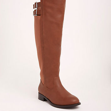 Over-the-Knee Double Buckle Strap Boots (Wide Width & Wide Calf)