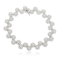 925 Sterling Silver Iced Out Sunflower Cluster Tennis Bracelet with Cz Stones (7 Inches)