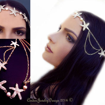 Starfish hairpiece, Chain hair piece, gold hair chain, boho hair, mermaid hair, crystal starfish, chain fascinator, hair fashion, OOAK