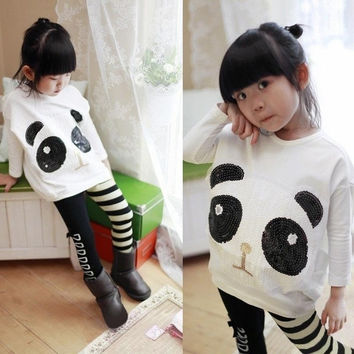 New Fashion Children Girls Clothing Set Casual Panda Batwing Sleeve Pullover Tops Striped Bowknot Leggings White = 1946798788