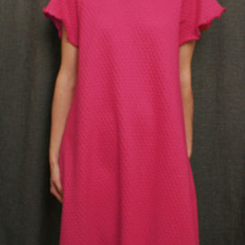 Hot Pink Short Sleeve Long NightGown Cotton Dot, Made In The USA,   Simple Pleasures, Inc.