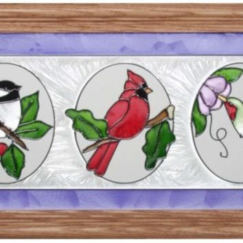 Cardinal Birds Hand Painted Horizontal Stained Art Glass Panel