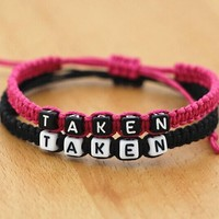 Taken Bracelet Black and Rose Pink Rope Bracelet Couple Bracelet Christmas Gift