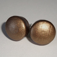 Antique gold wood post earrings stud button fall autumn back to school