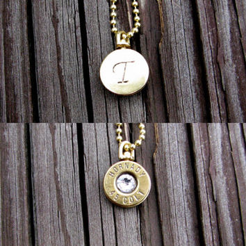 Reversible Bullet Initial Necklace- Double Sided- Monogrammed- Bullet Jewelry- Bullet Pendant- Bullet Necklace- Birthstone Necklace- Swivel