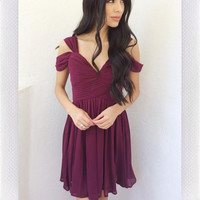 Vidiya Off Shoulder Dress- Winter Wine