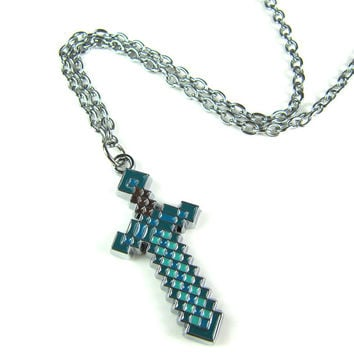 Minecraft Diamond 8bit Pixel Art creeper Sword Pendant Necklace