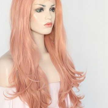 Raina- Peach Pink Wavy  Glueless Heat Resistant Synthetic Front Lace Wig