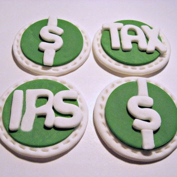 Make Tax Time fun! Fondant Cupcake, Cake, Cookie Toppers. Set of 12 (one dozen) 3 of each pattern.