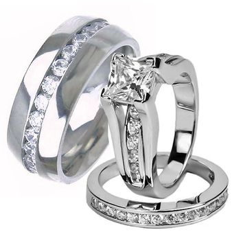 His Hers Wedding Ring Set Sterling Silver and Titanium Wedding Bands