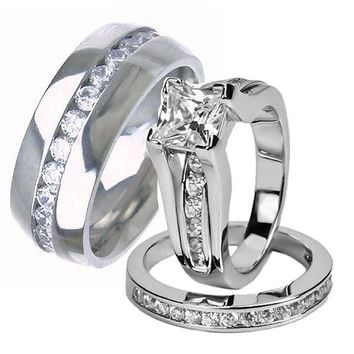 His Hers Wedding Ring Set Sterling Silver and Titanium Wedding Bands 74ff052d9