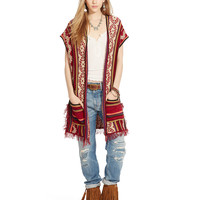 FRINGED OPEN-FRONT PONCHO