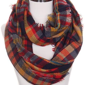 Mustard Red Navy Plaid Infinity Scarf