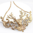 Gold Carvings and Deer Head Necklace