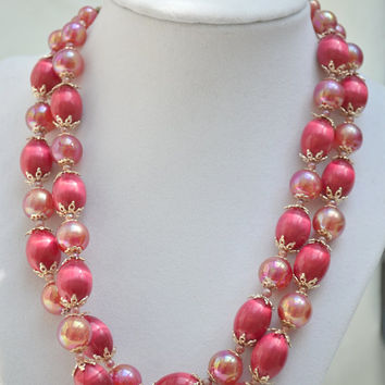 Beaded Necklace, Strand necklace, Lucite Necklace, Hot Pink Necklace, Aurora Borealis Necklace, Soap Bead Necklace, 1970s Necklace, Choker