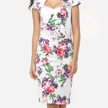 Streetstyle  Casual Floral Printed Delightful Sweet Heart Bodycon-dress