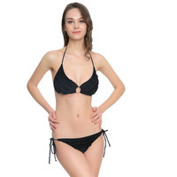 Fashion Sexy Backless Lace Solid Color Tether Halter Bikini Set Swimsuit Swimwear