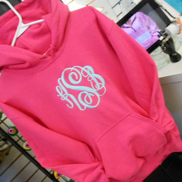 Fleece Hood Sweatshirt  Monogram  Font Shown  by MONOGRAMSINC
