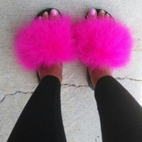 Nike Hot Pink Faux Fur  Slides fuzzy sandals