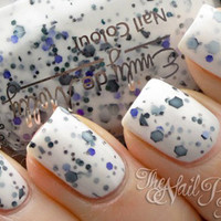 """Nail polish - """"Its Complicated"""" black, charcoal and purple glitter in a white base"""