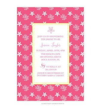 Shower - Baby or Bridal - Beach Coastal Seaside Party Invitations - Starfish and Coral Reef