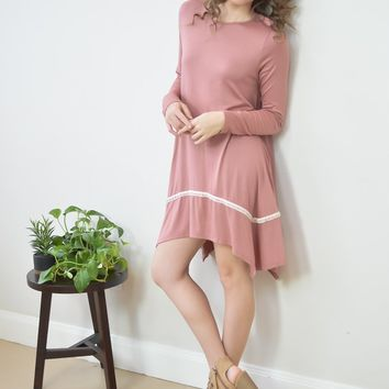 Logan Lace Pattern Mauve Swing Dress