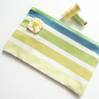 Denim & Lime Green Ombre Striped Zipped Pouch , Spring Clutch , Smartphone case , Bag Organiser , Make up Cosmetics Bag , Graduation Gift