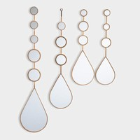 Gold Steel Teardrop Mirrors Set of 4