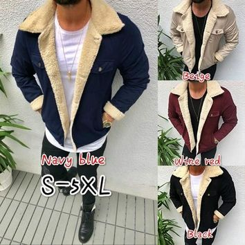 S-5XL Casual Men Winter Sheepskin Jacket  Warm Leather Wool Lined Coat Mountain Jacket Coat Faux Lamb Wool Motorcycle Jackets