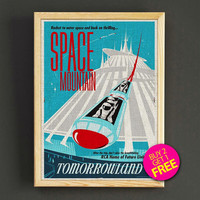 Vintage Disneyland Tomorrowland Space Mountain Attraction Poster Reprint Home Wall Decor Gift Linen Print - Buy 2 Get 1 FREE - 376s2g