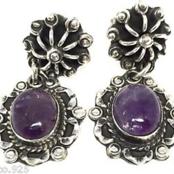 VINTAGE STYLE TAXCO MEXICAN 925 STERLING SILVER AMETHYST BEADED EARRINGS MEXICO