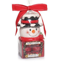 Red Apple Wreath Snowman Tea Light Gift Set