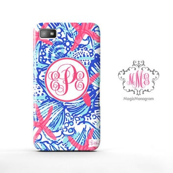 She She Shells Lilly Pulitzer Monogram Blackberry Case Z10, BB Q10 Case