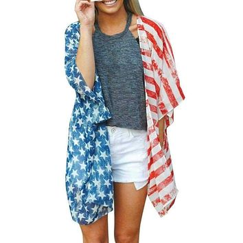 American Independence Day Flag Print Women Shirts Beach Wear Covers Clothes Female Girls Clothing Top For Summer Macchar Cosplay Catalogue