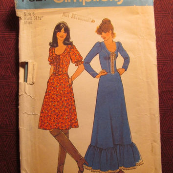 SALE Uncut 1970's Simplicity Sewing Pattern, 7327! Size 8 Small/Women's/Misses/Corset Tie Tops/Tiered Ruffled Dress/Long or Short Sleeves