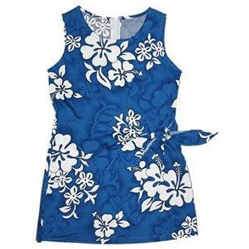 Waves Blue Hawaiian Girl's Sarong Floral Dress