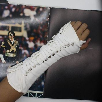 ac DCCKO2Q MJ Michael Jackson collection Black White BAD Punk Cotton Adjustable ArmBrace Glove Performance Show Party
