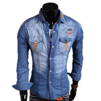 U.S Bleached Denim Design Casual Shirt