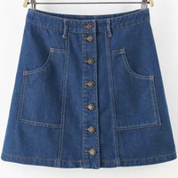 Navy Buttons Pockets Denim A-Line Mini Skirt
